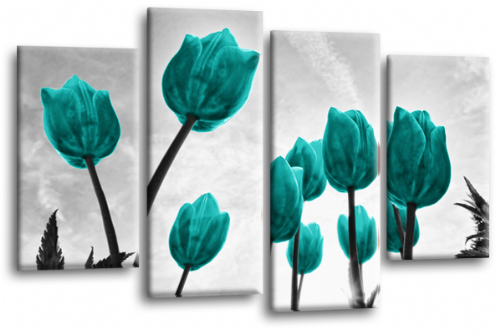 Tulip Floral Flowers Canvas Wall Art Picture Print Teal White